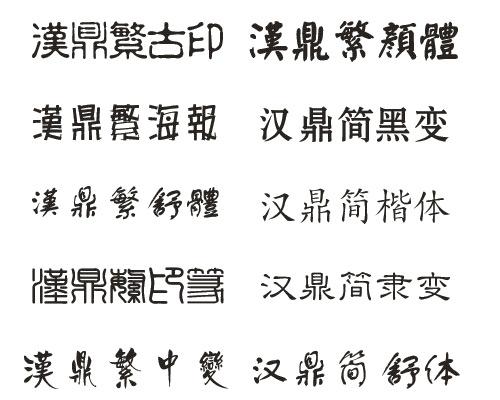 Разнообразные китайские шрифты