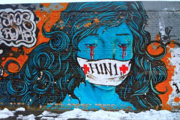 Граффити H1N1 в Пекине