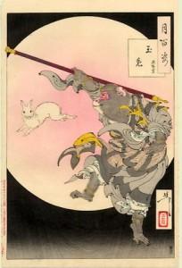 Лунный заяц и царь обезьян. Из цикла «Сто видов Луны». 1889. Художник Ёситоси Тайсо. Япония