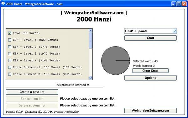 Окно программы 2000 Hanzi для изучения иероглифов и подготовки к HSK