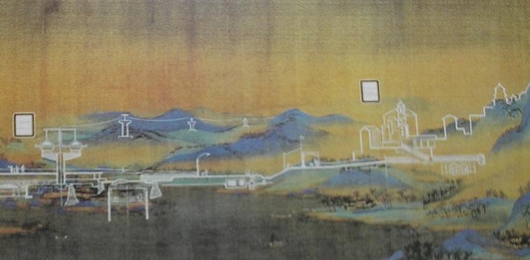"""""""Развивающийся район"""", Гуань Вэй, рисунок по распечатанному свитку, 2010"""