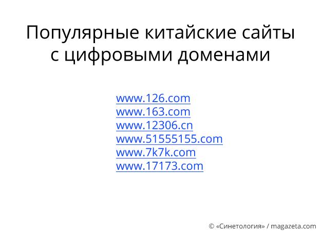 Популярные китайские сайты с цифровыми доменами - Магазета
