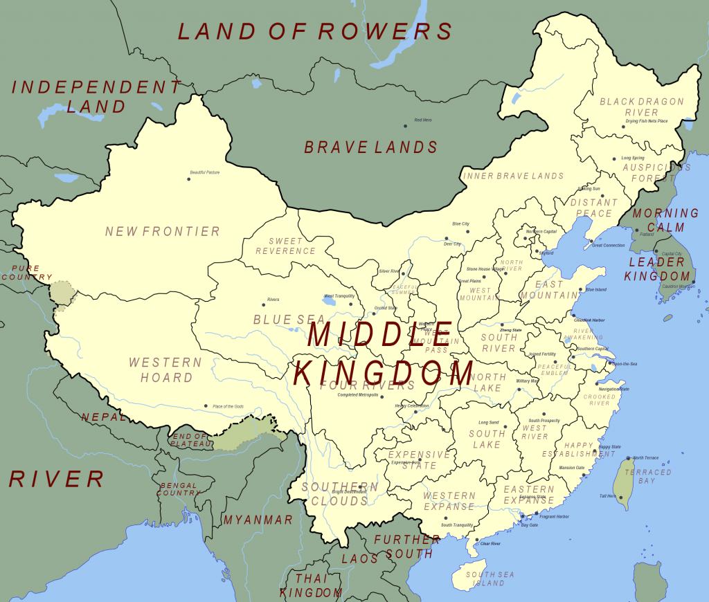 Карта Китая с переведенными названиями географических названий