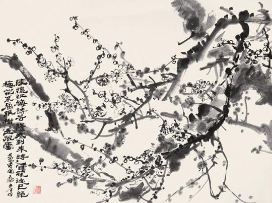 Изображение сливы в цвету художницы 黄胃