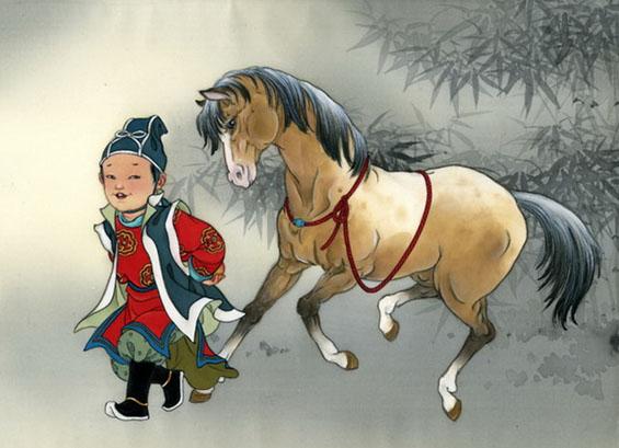 Лубок: Мальчик с лошадью