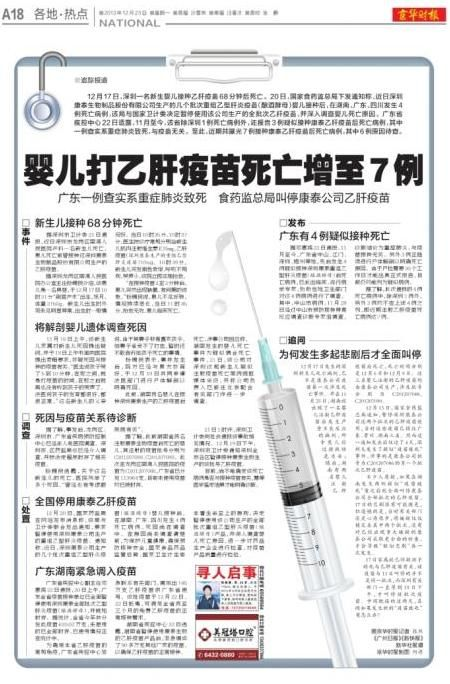 В Китае после вакцинации от гепатита скончались семь детей