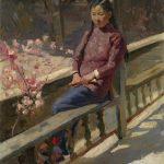 """К.Максимов """"Китайская девушка"""", масло, 1956 г."""