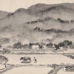 """К.Максимов """"Китай.Рисовые поля"""", бумага/тушь, 1957."""