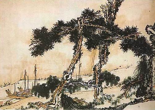 """""""Причал ночью в Цзянчжоу"""", живопись пальцем,тушь, краски, 1953 г."""