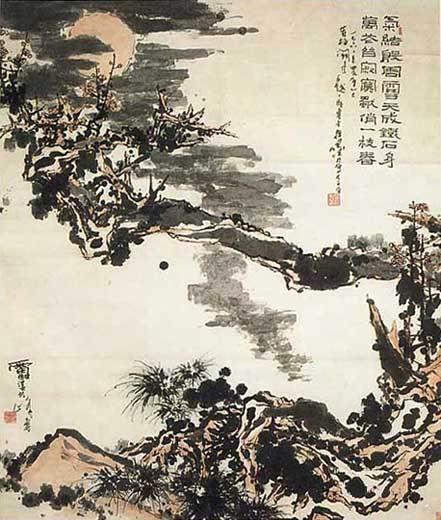 """""""Дерево сливы и луна"""", тушь, краски, бумага шэнсюань, 1966 г."""