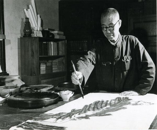 Pan Tianshou at work - Когда под рукой нет кисти