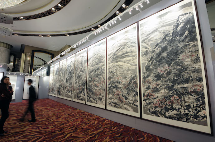 "Titled ""The Grand Snowing Mountainous Jiangnan Landscape."" Completed in 2013 by Cui Ruzhuo sold for an auction record for living Asian artist of $30 million. Source: Poly Auction Hong Kong via Bloomberg."