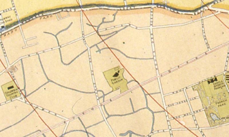 Участок Французской концессии и сквер Верден на карте 1919 года