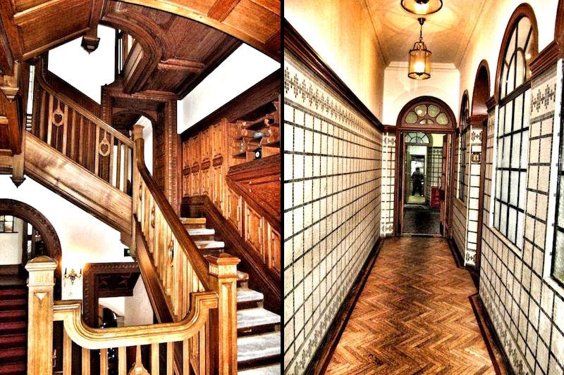 Деревянная обшивка лестницы и коридор, выложенный плиткой, в вилле Моллера. Источник: wanderloot.wordpress.com