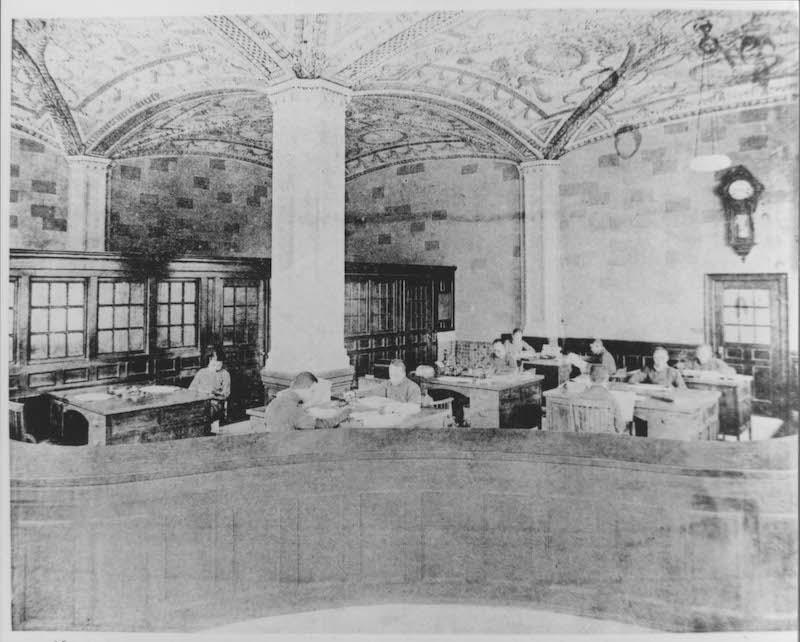 Интерьер первого этажа редакции газеты. Источник: minguotupian.com