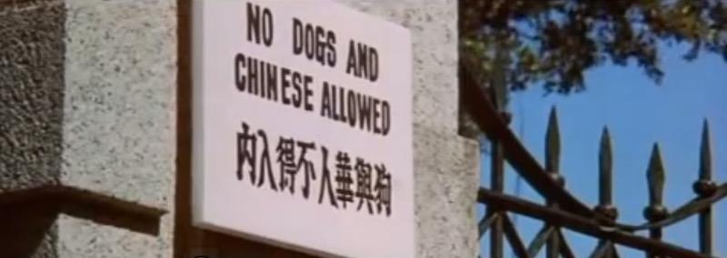 """Надпись: """"Вход собакам и китайцам воспрещен"""". Источник: кадр из фильма """"Кулак ярости"""""""