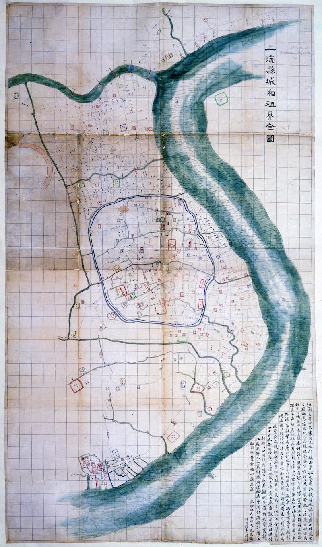 """Карта Шанхая 1875 года издательства """"Шэньбао"""". Источник: British Library"""