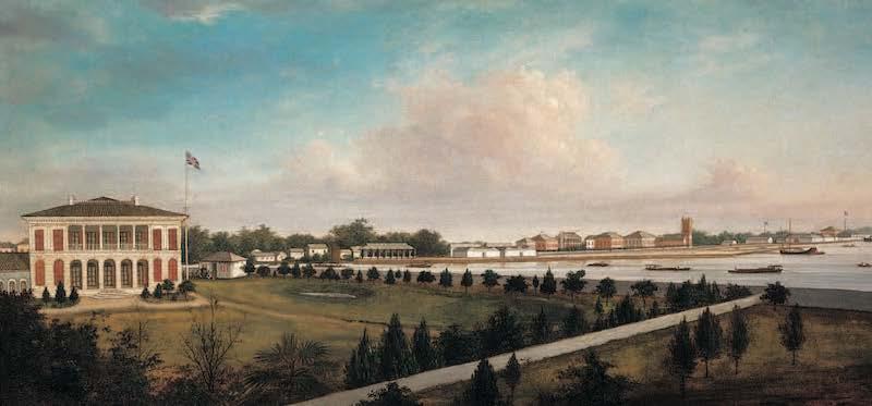 Вид в 1860 году с территории английского консульства в сторону реки до создания парка. Источник: Denison, Ren-Building Shanghai