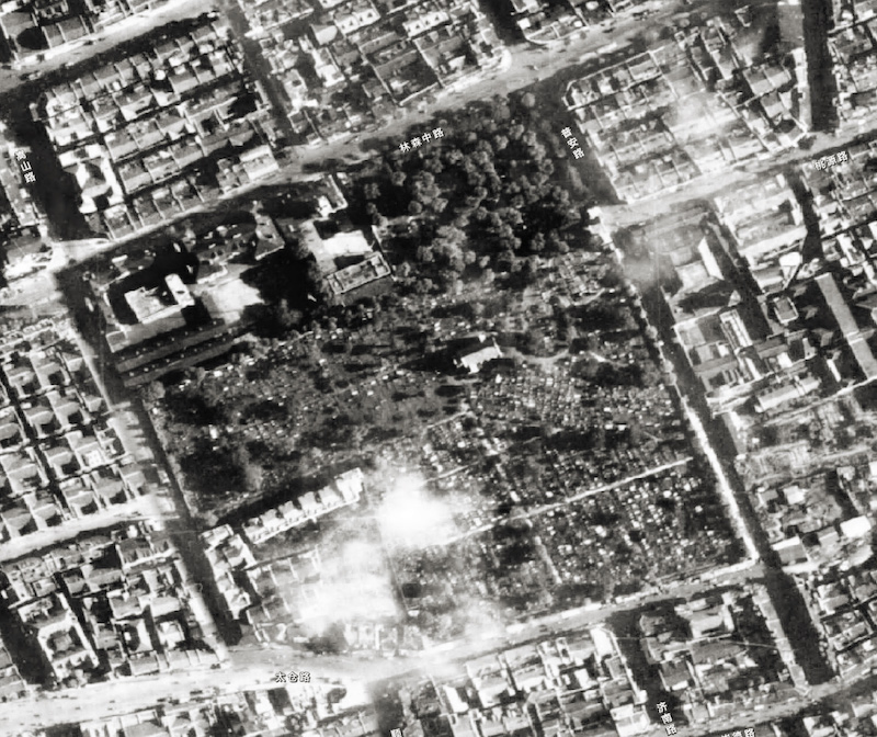 Район кладбища на аэрофотосъемке 1948 года. Источник: shanghai-map.net