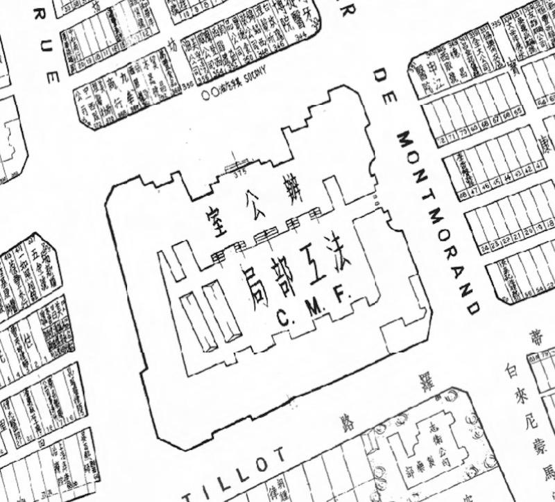 Здание Французского муниципального совета на карте 1939 года. Источник: virtualshanghai.net