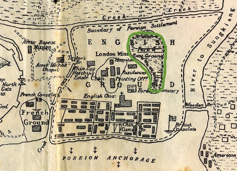 Карта Сеттльмента 1853 года с контуром первого ипподрома. Источник: History of Shanghai, Lanning & Cooling