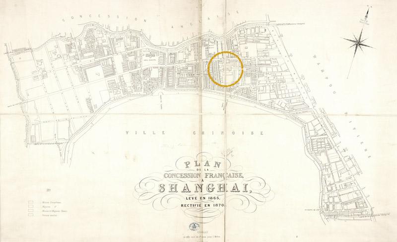 План Французской концессии в 1870 году.Источник: virtualshanghai.net