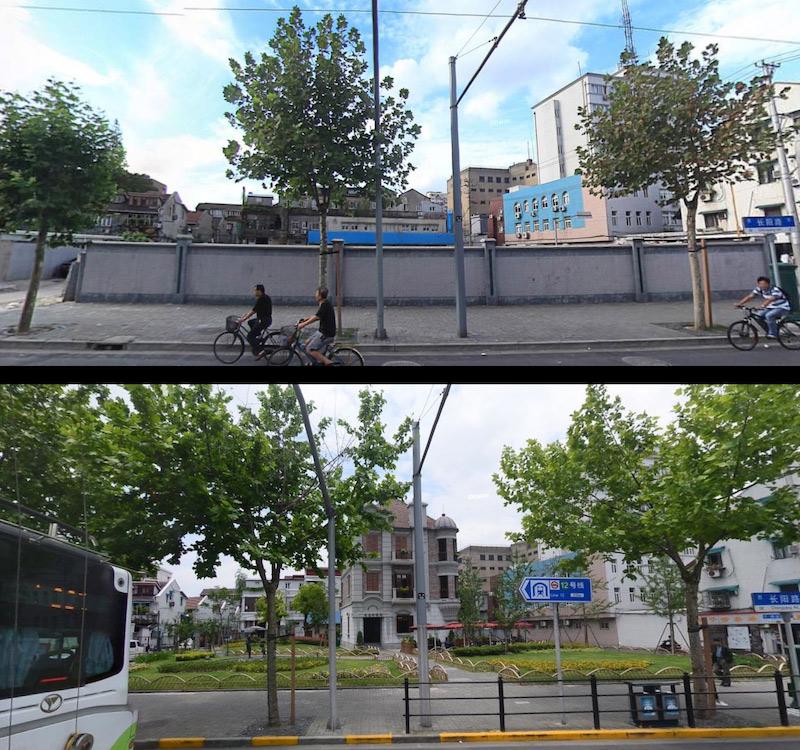 Угол улиц Changyang Road & Zhoushan Road в 2013 и в 2016 годах. Источник: baidu