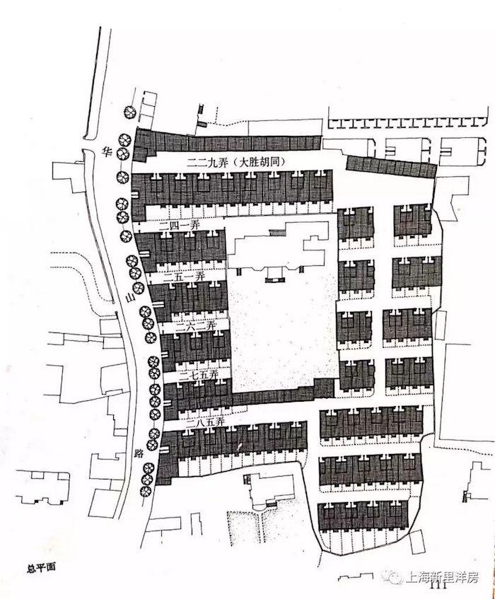 План квартала Dasheng Hutong и поместье Деннарт в центре. Источник: 上海新里洋房 на sohu.com