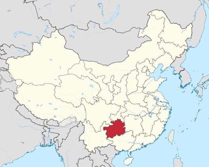 Гуйчжоу на карте Китая. Источник: Википедия