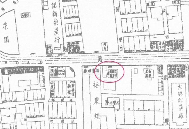 """Особняк с """"Гарденией"""" на старой карте Шанхая. Источник: virtualshanghai.net"""