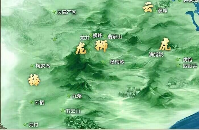 Карта местности, где выращивают Сиху Лунцзин