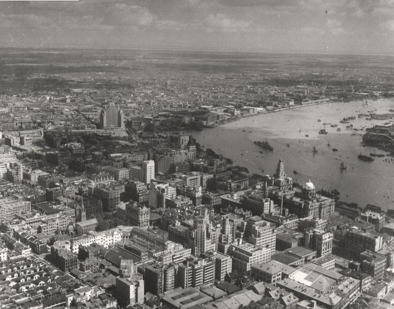Аэрофотосъемка центра Шанхая в 1945 году. Источник: George Lacks