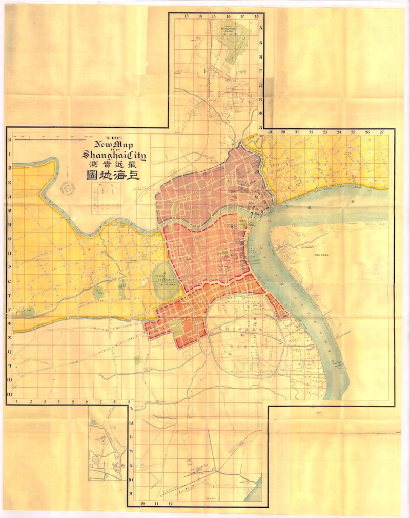 Карта Шанхая 1919 года из путеводителя Г. Сюннерберга. Источник: Virtual Shanghai