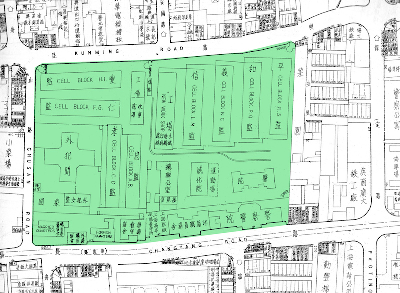 Карта тюремного комплекса в 1946 году