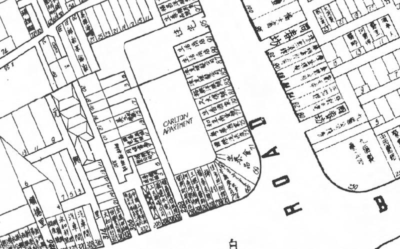 """Угловое здание """"Карлтон"""" на карте Шанхая в 1939 году. Источник: Virtual Shanghai"""