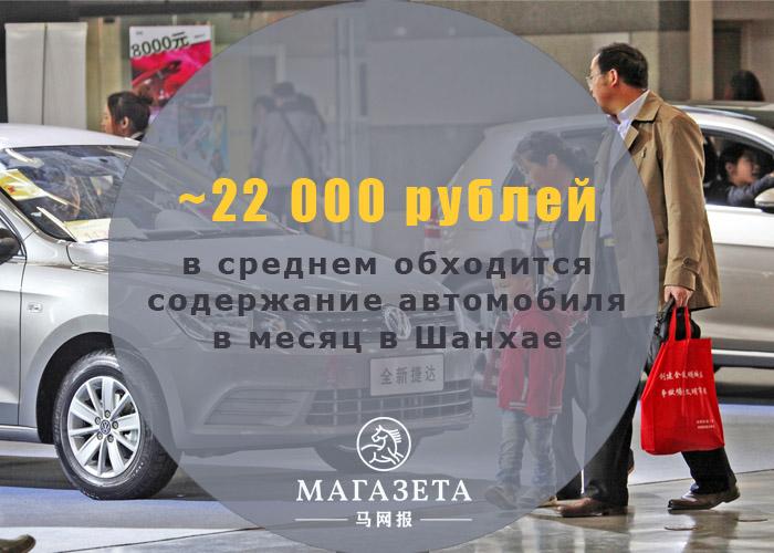 22 000 рублей в месяц обходится автомобиль в Шанхае