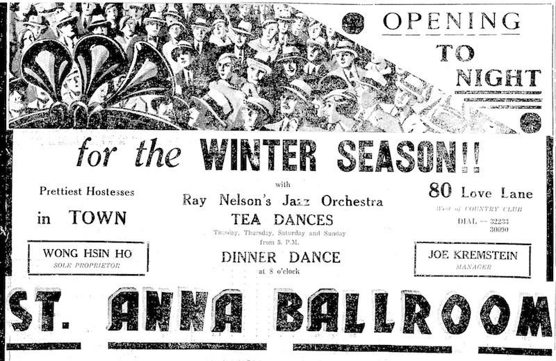 """Объявление об открытии зимнего сезона в кабаре """"Святая Анна"""". Источник: The China Press (1933)"""