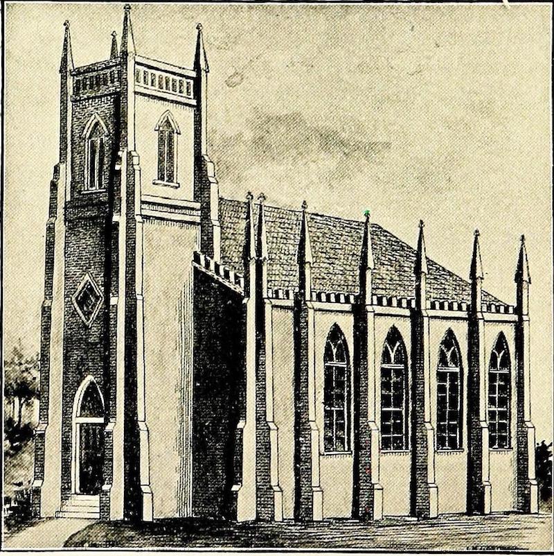 Баптистская церковь неподалеку от Сада радости в 1850 году. Источник: Story of Yates the Missionary