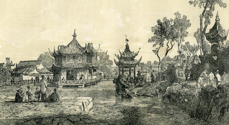 Сад Радости и макушка баптистской церкви, выглядывающая слева на горизонте. Источник: Denison, Ren – Building Shanghai