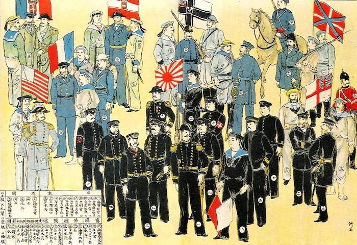 8 армий Альянса с военно-морскими флагами: королевство Италия, США, Франция, Австо-Венгрия, Японская империя, Германская империя, Российская империя и Великобритания. Источник: wikipedia.org