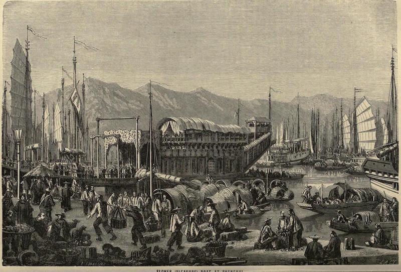 Представление о Шанхае как о восточном Вавилоне с цветочными баржами. Источник: Earth Delineated (1898)