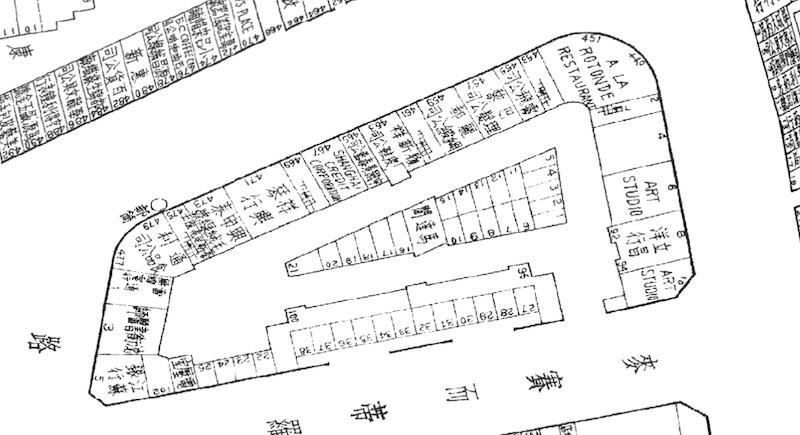 План дома и магазинов на первом этаже в 1939 году. Источник: Virtual Shanghai