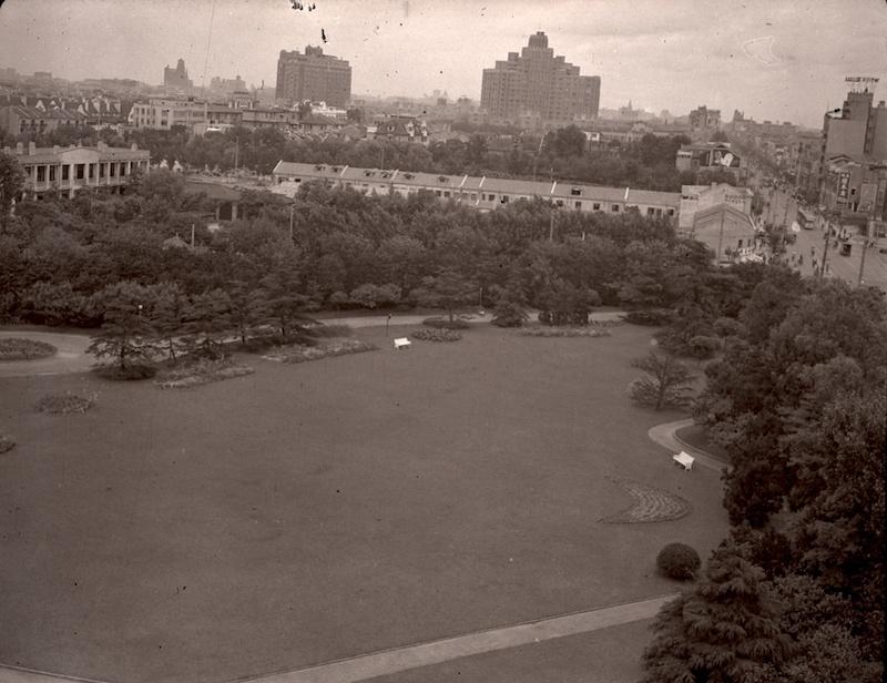 Озеленение района в 1937 году, до появления парка Равинель. Источник: Werner von Boltenstern, LMU