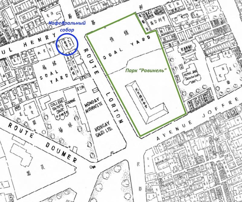 План участка в 1939 году, на месте будущего парка отмечены угольные склады. Источник: Virtual Shanghai