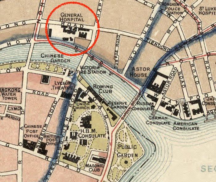 """Фрагмент карты Шанхая 1918 года, отмечен """"Дженерал госпиталь"""". Источник: Library of Congress"""