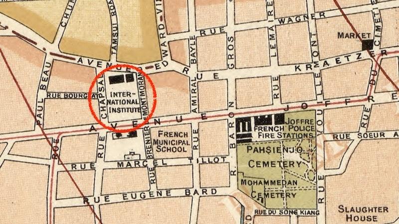 Карта 1918 года, институт обведен. Источник: Library of Congress