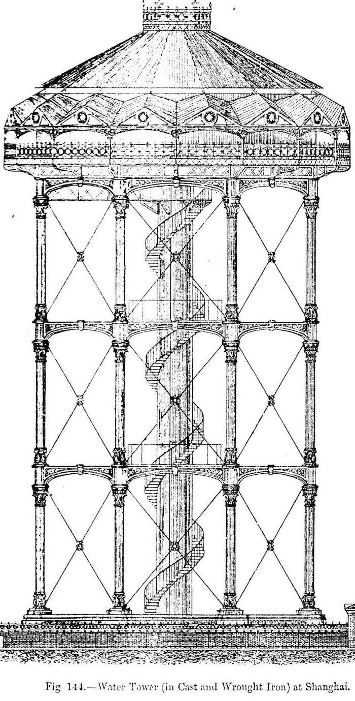Схематический рисунок дизайна башни. Источник: British Watertower Appreciation Society
