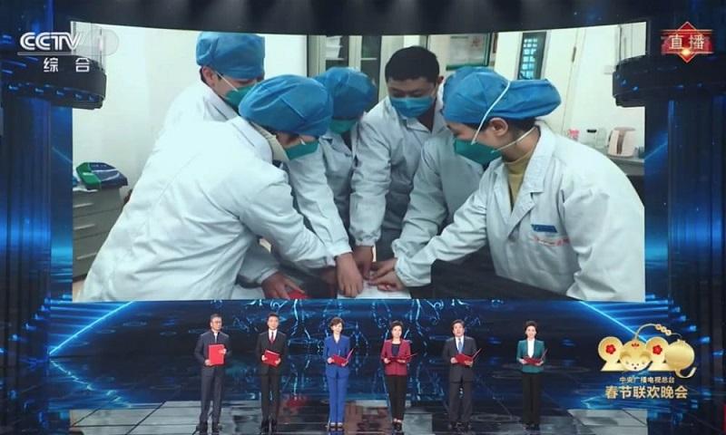 Репортаж из больницы в Ухане на новогоднем шоу. Источник: What's on Weibo