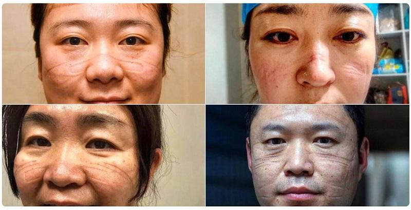 Лица Китая 2020. Медицинские работники после смены в полной экипировке. Источник: Twitter