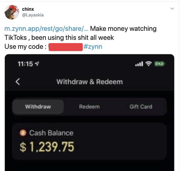 Приложение Zynn раздает деньги